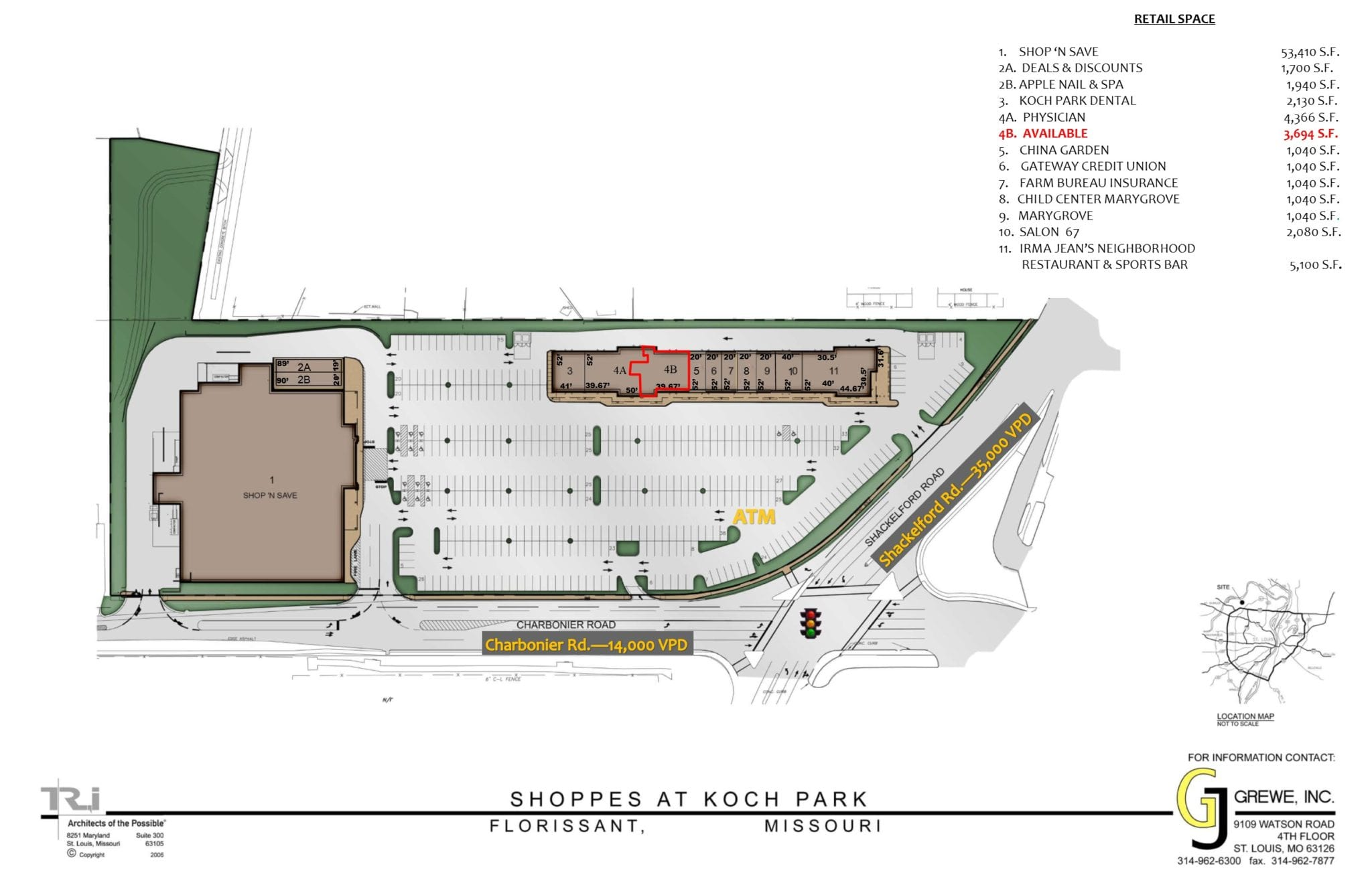 shoppes at koch park gj grewe site plan